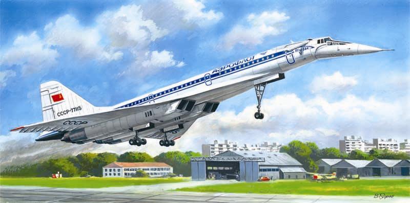 Советский сверхзвуковой пассажирский самолет Туполев-144Д ICM 14402