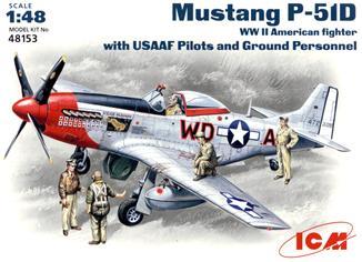 Истребитель Mustang P-51D с пилотами и техниками ICM 48153