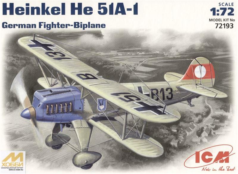 Германский истребитель-биплан Heinkel He-51 A1 ICM 72193