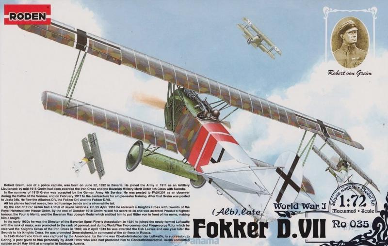 Германский истребитель-биплан Fokker D.VII Alb (late) Roden 035