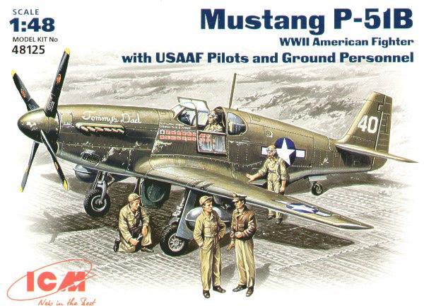 Истребитель Mustang P-51B с пилотами и техниками ICM 48125