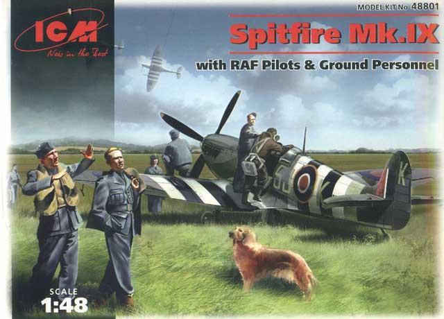 Истребитель Spitfire Mk.IX с пилотами и техниками ВВС Великобритании ICM 48801