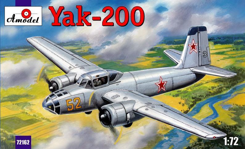 Сборная пластиковая модель самолета Як-200 Amodel 72162