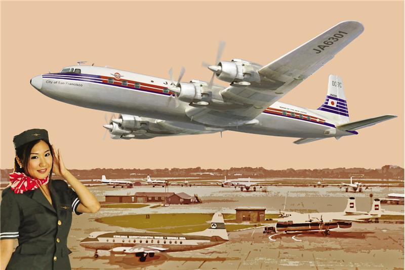Самолет DC-7C Японские авиалинии Roden 303