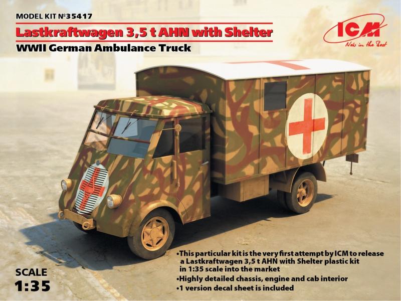 Германский армейский автомобиль Lastkraftwagen 3.5 t AHN c будкой ICM 35417