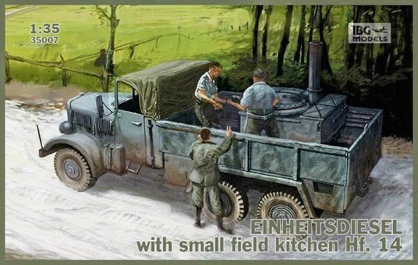 Фронтовой грузовик Einheitsdiesel с небольшой полевой кухней Hf.14 IBG Models 35007