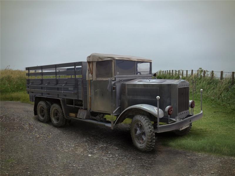 Немецкий армейский грузовик  ІІМВ Krupp L3H163 ICM 35461