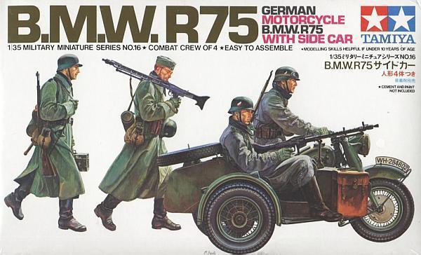 Немецкий мотоцикл BMW R75 с коляской Tamiya 35016