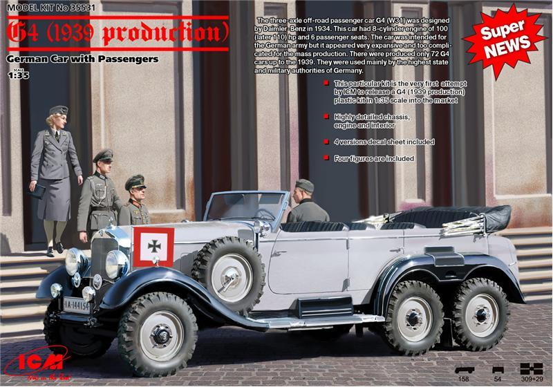 Германский легковой автомобиль G4 (производства 1939 г.) с пассажирами ICM 35531
