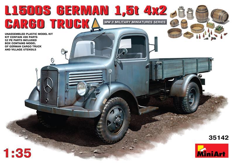 Немецкий грузовой автомобиль L1500S / German cargo truck L1500S MiniArt 35142