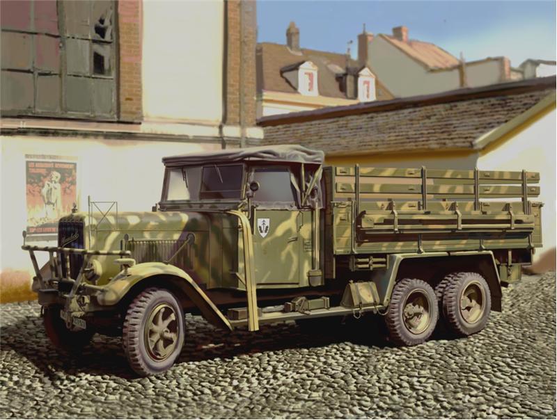 Германский армейский грузовой автомобиль II МВ Henschel 33D1 ICM 35466