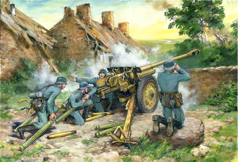Германская противотанковая пушка 7,62 cm Pak 36(r) с расчетом ICM 35801