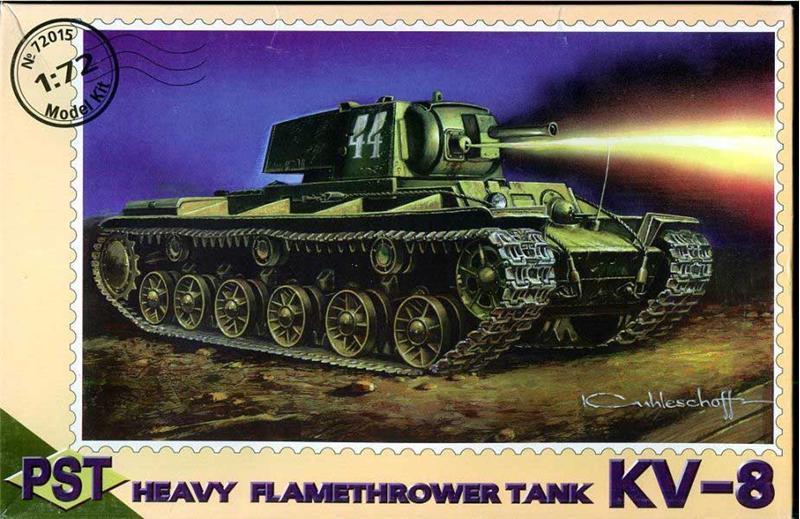 Пластиковая модель советского огнеменого танка КВ-8 PST 72015