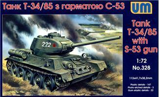 Советский танк Т-34/85 с пушкой С-53 Unimodels 328