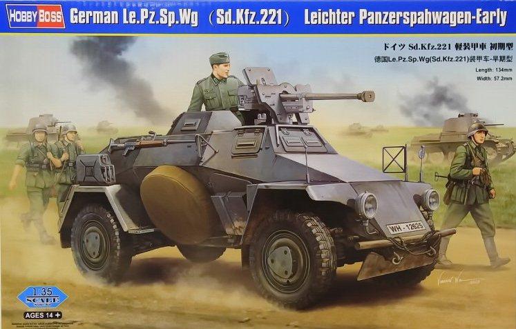Немецкий бронеавтомобиль Le.Pz.Sp.Wg (Sd.Kfz.221) Leichter Panzerspahwagen, ранний Hobby Boss 83813