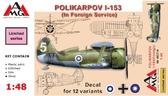 Истребитель Поликарпов И-153 эксплуатированный в других странах