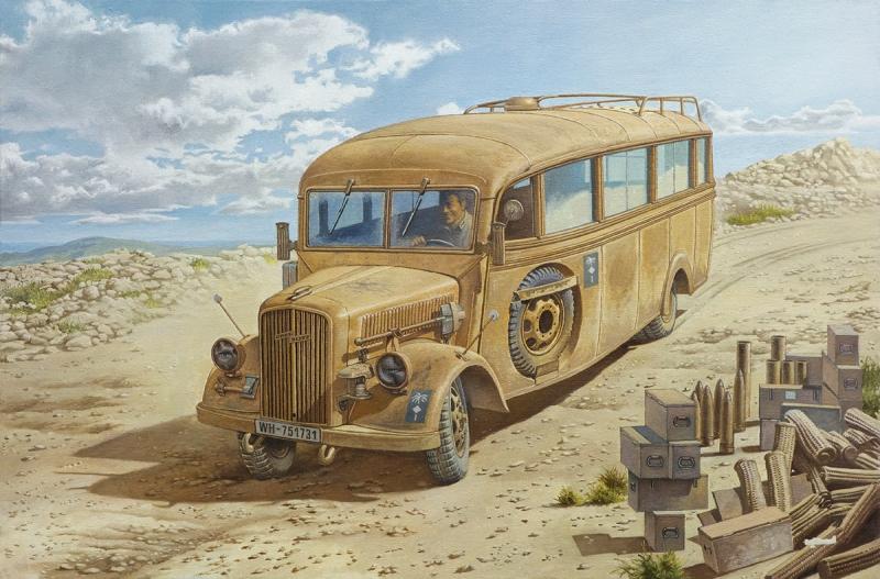 Немецкий штабной автобус Opel Blitz 3.6 – 47 Omnibus W39 Ludewig, поздний Roden 808