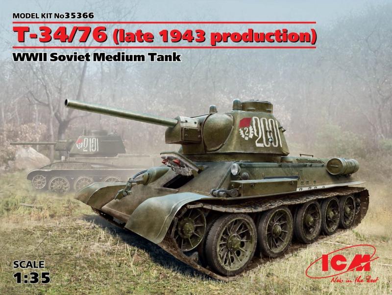 Советский средний танк Т-34/76 (производства конца 1943 г.) ICM 35366