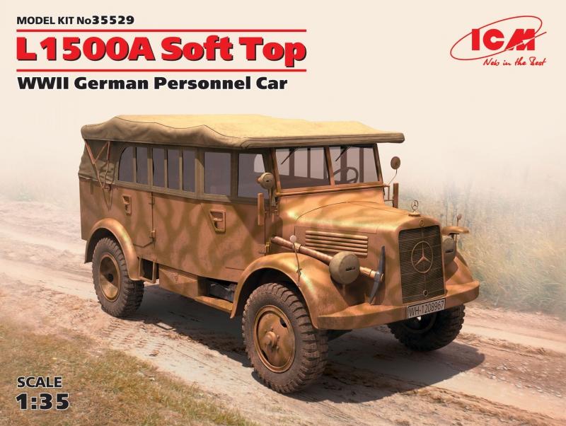 Германский армейский автомобиль L1500A с поднятым тентом ICM 35529