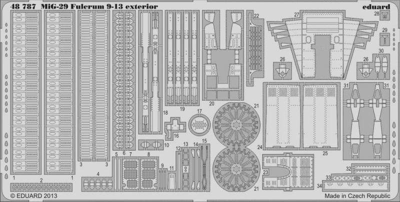 Фототравление 1/48 МиГ-29 9-13 экстерьер ( рекомендовано для GWH) Eduard 48787