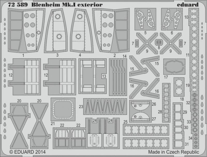 Фототравление 1/72 Blenheim Mk.I экстерьер (Airfix) Eduard 72589