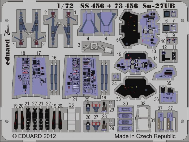 Фототравление 1/72 Су-27УБ (рекомендовано для Trumpeter) Eduard 73456