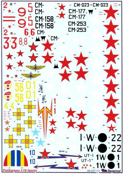 Декаль на самолет Поликарпов И-16 Begemot 48021