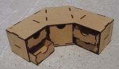 Угловой модуль с 4 маленькими и 1 большим ящиком для расходников и разных материалов