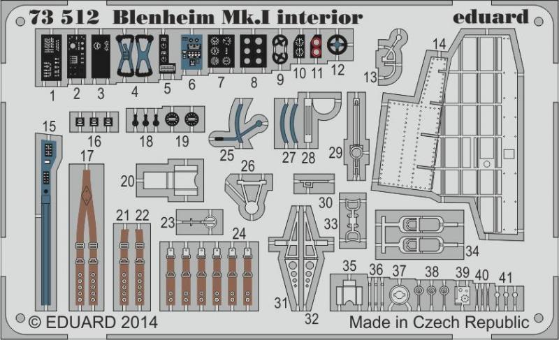 Фототравление 1/72 Blenheim Mk.I интерьер (Airfix) Eduard 73512