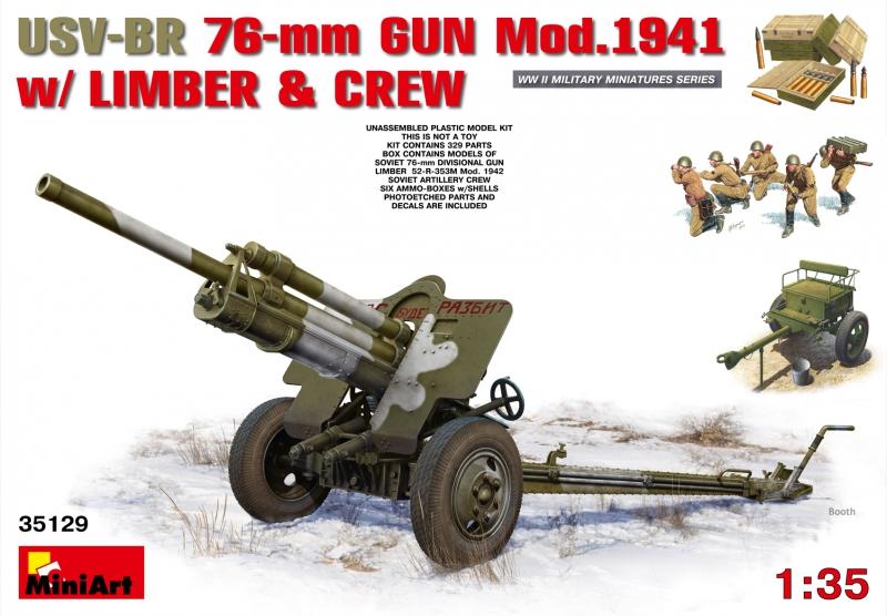 Советская 76-мм пушка УСВ-БР, образца 1941г. с артиллерийским передком и расчетом MiniArt 35129