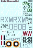 Декаль для самолета Bristol Blenheim Mk. I
