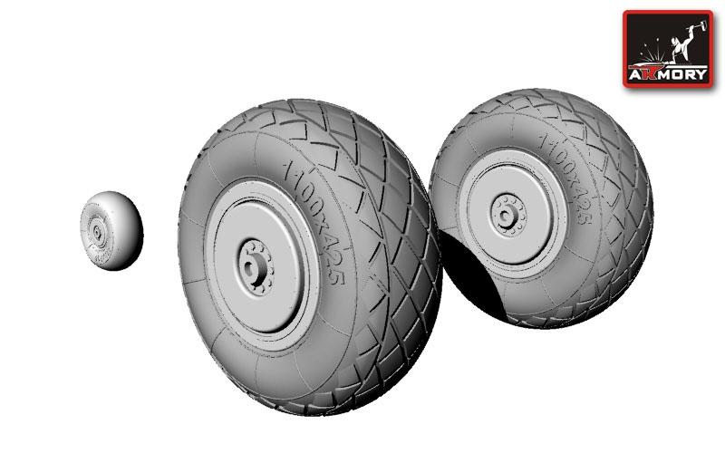 Резиновые колеса для Ту-2 поздний тип, универсальные Armory 72002