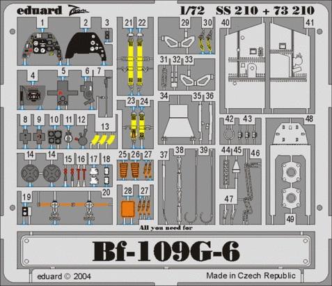 Фототравление 1/72 Bf-109G-6 (цветная, рекомендовано для Hasegawa) Eduard 210