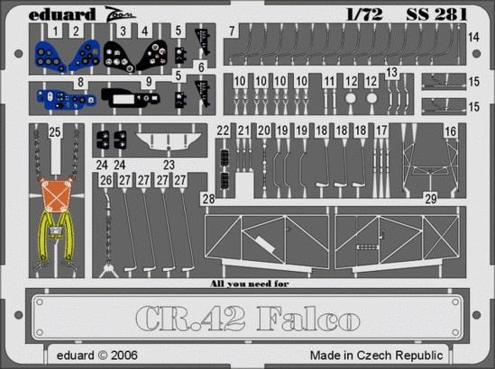 Фототравление 1/72 Фиат CR-42 Фалько (цветная, рекомендовано для Italeri) Eduard 281