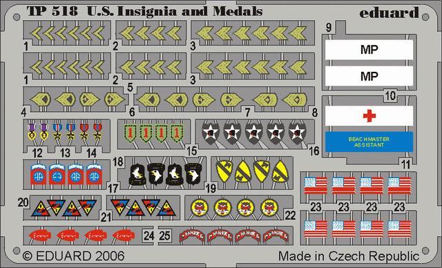 Фототравление 1/35 американские знаки отличия и медали ВОВ Eduard 518