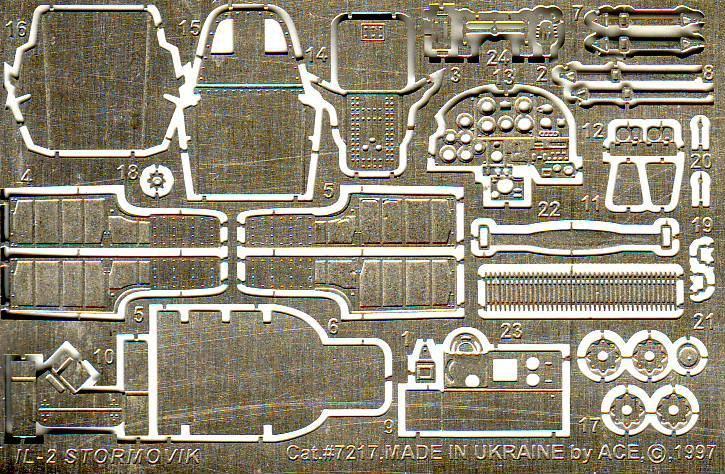 Фототравление для cамолета Ильюшин Ил-2 М3 (Toko) Ace 7217