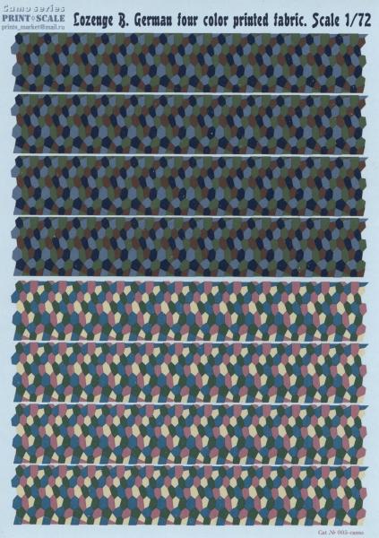 Камуфляжная декаль с немецкой четырехцветной расцветкой Print Scale 005