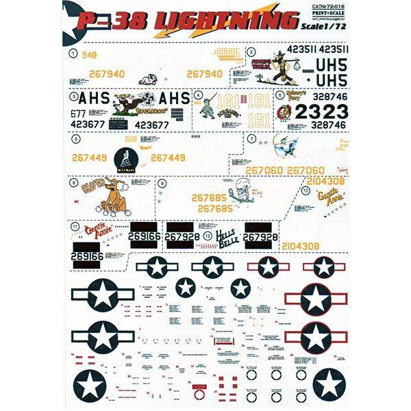 Декаль для истребителя P-38 Lightning Print Scale 72016