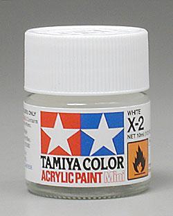 Акриловая краска 10мл Mini X-2 белый (глянцевая) Tamiya 81502