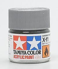 Акриловая краска 10мл Mini X-11 хром серебристый (глянцевая) Tamiya 81511