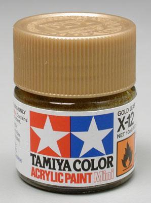 Акриловая краска 10мл Mini X-12 золотой лист (глянцевая) Tamiya 81512