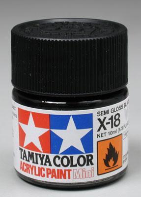 Акриловая краска 10мл Mini X-18 полуматовый черный Tamiya 81518