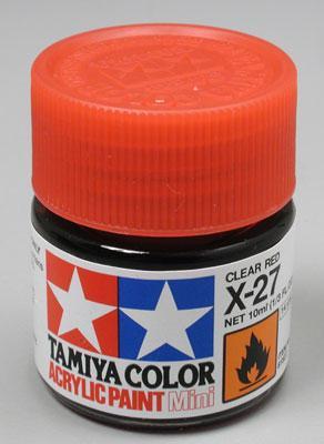 Акриловый лак 10мл Mini X-27 красный Tamiya 81527