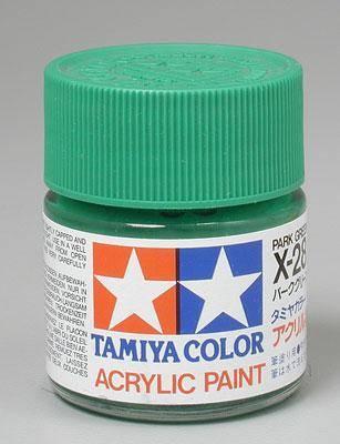 Акриловая краска 10мл Mini X-28 парковый зеленый (глянцевая) Tamiya 81528