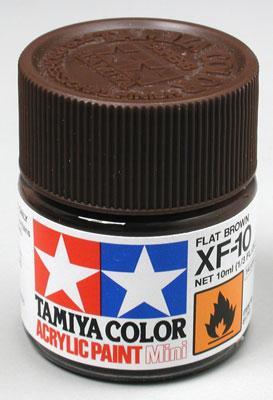 Акриловая краска 10мл Mini XF-10 матовый коричневый Tamiya 81710