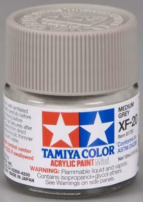 Акриловая краска 10мл Mini XF-20 средний серый Tamiya 81720