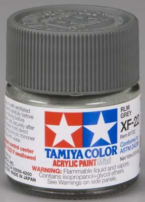 Акриловая краска 10мл.Mini XF-22 RLM серый Tamiya 81722