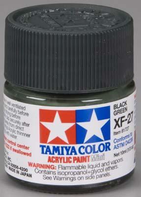 Акриловая краска 10мл Mini XF-27 чернозеленый (матовая) Tamiya 81727