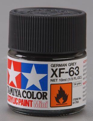 Акриловая краска 10мл Mini XF-63 немецкий серый (матовая) Tamiya 81763
