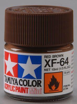 Акриловая краска 10мл Mini XF-64 красно-коричневый (матовая) Tamiya 81764